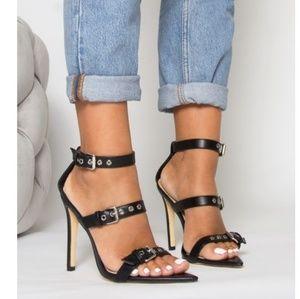 Black Pointed Buckle Stilleto Heels